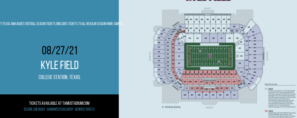 2021 Texas A&M Aggies Football Season Tickets (Includes Tickets To All Regular Season Home Games) at Kyle Field